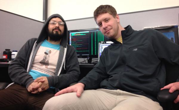 Mathematician Phillip Adkins (left) and Drew Abbot, a software engineer at AiLive. They were members of the winning team.