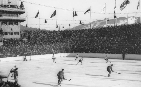 An ice hockey match between the U.S.A. and Canada in February 1936, during the Winter Olympics at Garmisch-Partenkirchen.