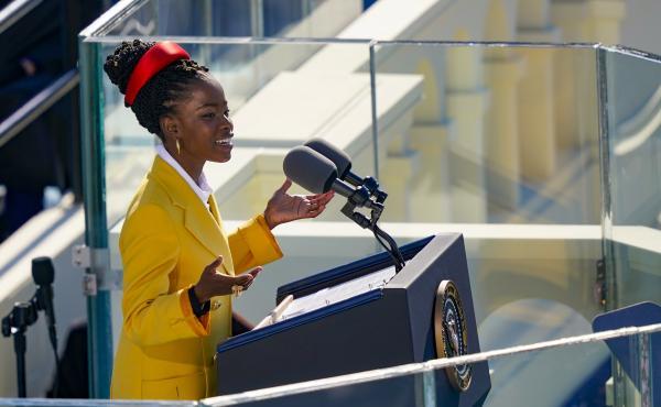 Youth Poet Laureate Amanda Gorman speaks at the inauguration of U.S. President Joe Biden.
