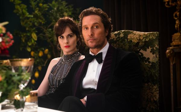 Rosalind (Michelle Dockery) and Mickey (Matthew McConaughey) in The Gentlemen.