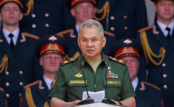 Russia's Defense Minister Sergei Shoigu delivers a speech in Moscow last month. Shoigu is leading an investigation into an explosion on board a Russian navy research vessel.