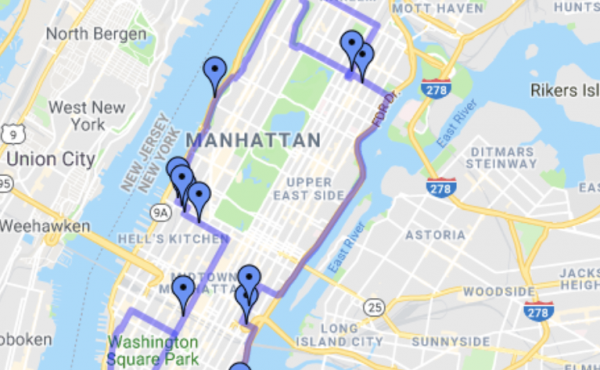 The Jewish Center in Manhattan maintains an interactive Google Map marking the boundary of the eruv.
