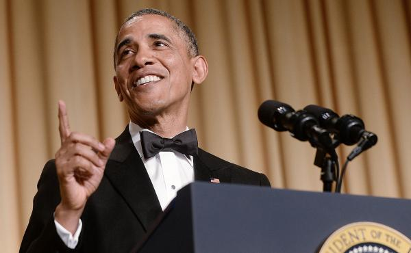"""President Barack Obama speaks at the 2014 White House Correspondents' Association Dinner in Washington, D.C. Speechwriter David Litt, who helped craft the president's comedy routine that night, says, """"Some of the joke is always that it's the president tel"""