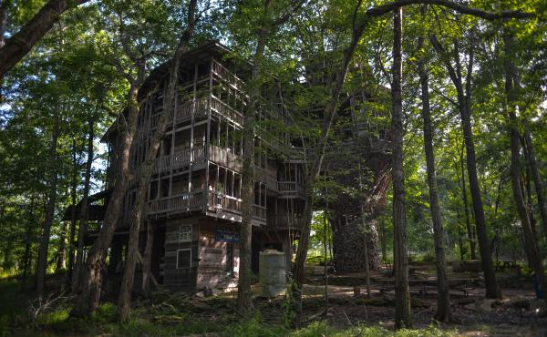 A Tennessee man named Horace Burgess began constructing the treehouse in the early 1990s, saying God had called on him to do it.