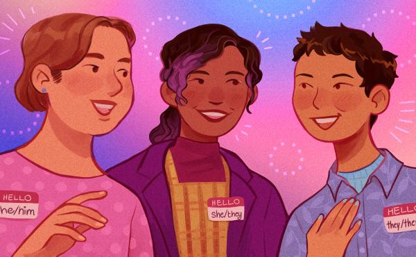 """""""Pronouns are basically how we identify ourselves apart from our name. It's how someone refers to you in conversation,"""" says Mary Emily O'Hara, a communications officer at GLAAD. """"And when you're speaking to people, it's a really simple way to affirm thei"""