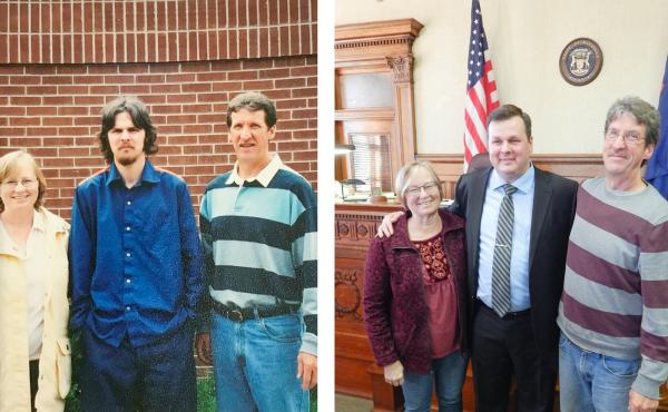 At left: Becky and Mike McKenney (right) visit VanSumeren while he was incarcerated. The couple are the parents of VanSumeren's former girlfriend, Jillian, who has also remained close to him. At right: The McKenneys join VanSumeren on the day of his swear
