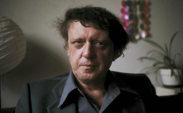Anthony Burgess poses for a photograph in 1973, two years after the release of the film adaptation of A Clockwork Orange — and right around the time he was working on the recently unearthed manuscript.