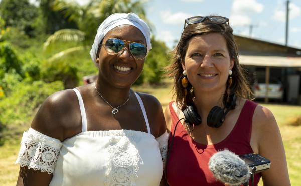 Peggy Bouva (left) and Maartje Duin traveled to Suriname together to visit a former sugar plantation once owned by Dutch nobility. Duin's great-great-great-grandmother held a share in the plantation, where Bouva's ancestors were enslaved. The two women do