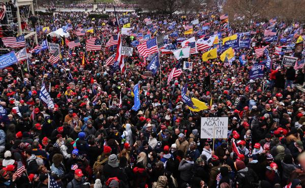 Thousands of Trump supporters gather outside the U.S. Capitol following a Stop the Steal rally on Jan. 6. They stormed the historic building, breaking windows and clashing with police. Nearly two months later, some 250 rioters are facing charges, includin