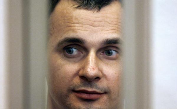 Ukrainian film director Oleg Sentsov is seen inside of the defendant's cage in a military courtroom on July 27, 2015. He is currently serving a 20-year sentence.