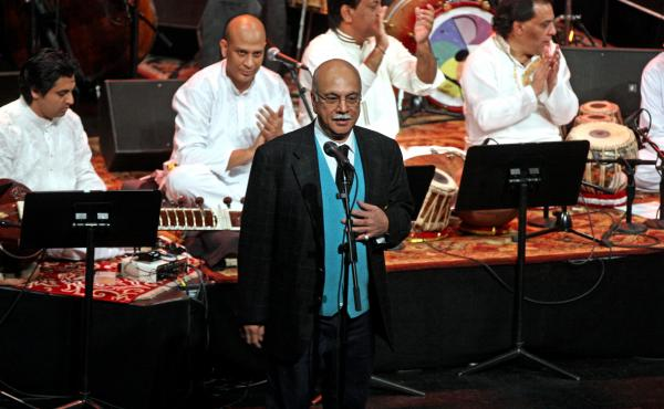 Izzat Majeed address a crowd in New York during a collaborative concert between Sachal Studios musicians and the Jazz at Lincoln Center Orchestra. The Lahore-born philanthropist founded a recording studio and provided opportunities for musicians in Pakist