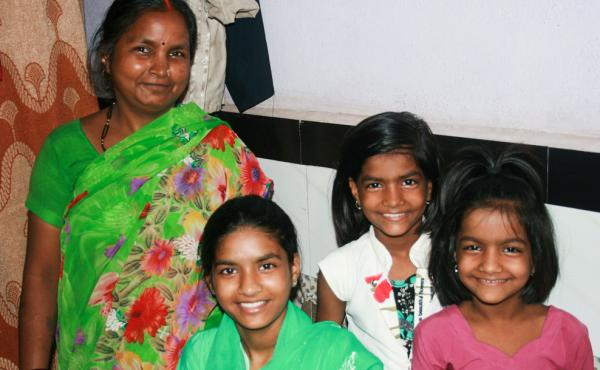 Rima Prajapati with daughters (from left) Jhoti, Aarti and Sangeeta. Jhoti and Aarti were both born deaf. Rima moved her daughters from their village to Mumbai so they could attend a school for the deaf.