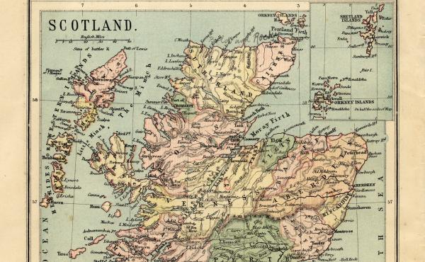 One of many maps of Scotland that places the Shetland Islands in a box in the upper right corner.