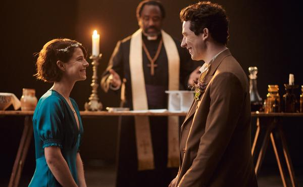 Jessie Buckley and Josh O'Connor as Romeo and Juliet, and Lucian Msamati as Friar Laurence, in the new Romeo & Juliet on PBS's Great Performances.