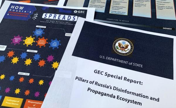 """A State Department report on Russian online operations to promote conspiracy theories and misinformation. Some analysts also warn of """"perception hacks,"""" when relatively small-scale hacks are uncovered and then widely discussed by government officials, new"""