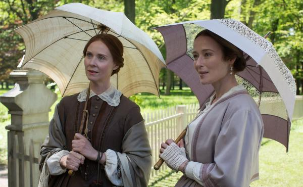 """""""The parasol is the umbrella's daughter..."""": Emily Dickinson (Cythnia Nixon) and sister Vinnie (Jennifer Ehle) in A Quiet Passion."""