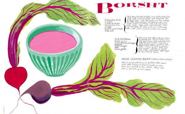 One of Cipe Pineles' many illustrated recipes in the newly published cookbook, Leave Me Alone With the Recipes: The Life, Art & Cookbook of Cipe Pineles.