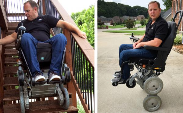 Gary Linfoot was paralyzed by a helicopter crash in Iraq. He's one of the few veterans still using an iBOT, which allows him to rise up to eye level using Segway-style balancing technology. The wheelchair was discontinued in 2009, but may soon be reissued