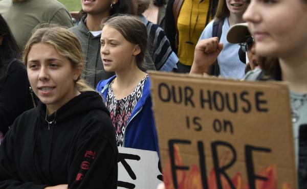 Swedish climate activist Greta Thunberg (center) marches with other young climate activists last week outside the White House in Washington, D.C.