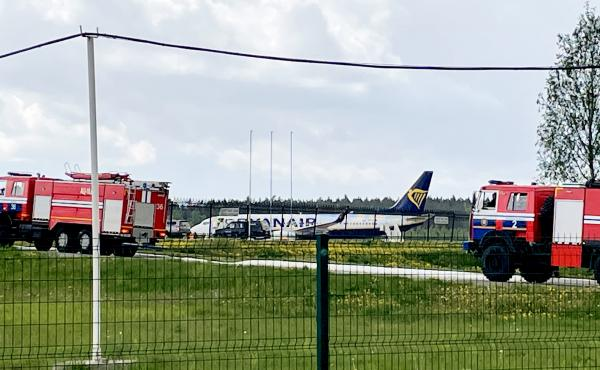 A Ryanair Boeing is parked at Minsk International Airport on Sunday. Belarusian opposition activist Roman Protasevich was detained at Minsk airport after his Lithuania-bound flight made an emergency landing.