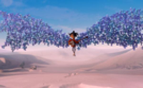 Kubo is swept up by origami wings in the new film, Kubo and the Two Strings, an action-adventure, stop-motion animation by Laika studios.