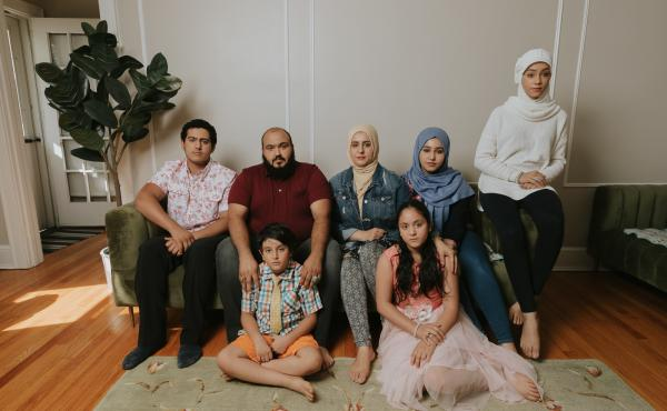 Left to Right: Naji, Ibrahim, Ahmed, Adeebah, Rahaf, Ammal and Hala Aldabaan in their Connecticut home.