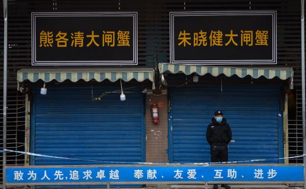 A security guard stands outside the Huanan Seafood Wholesale Market, where the novel coronavirus was detected in Wuhan, China.