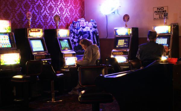 Dick and Dolly Miller play the slots at the Cal-Nev-Ari Casino. They say the thought of Nancy Kidwell stepping down makes folks nervous here.