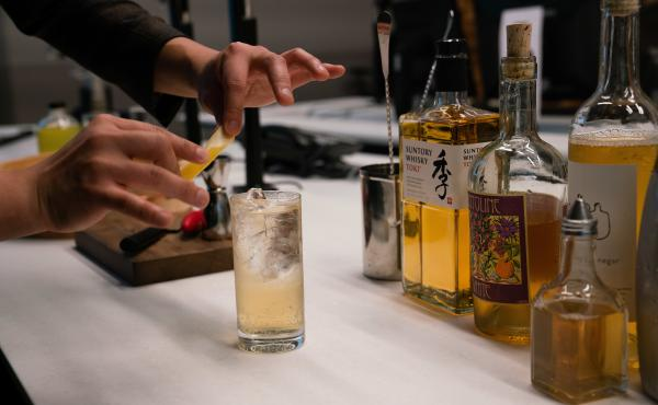 "Barman Eddie Kim created the light and crisp ""Truth and Clarity"" cocktail — combining Capitoline White Vermouth, Suntory Toki Whisky, club soda and lemon vinegar — to ring in the new year."