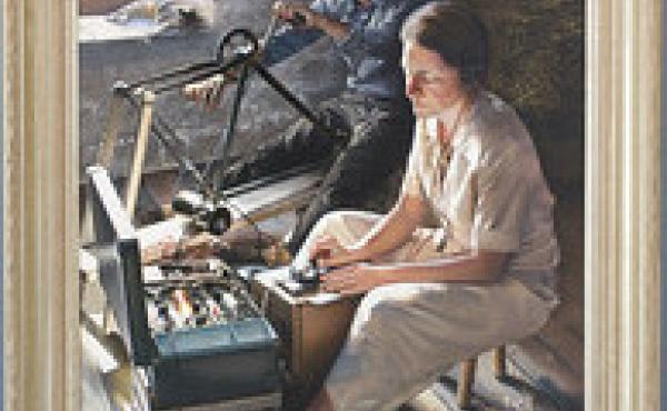 This painting of Virginia Hall hangs in one of the main hallways near the entrance of CIA headquarters. The painting shows her making radio contact with London from an old barn in France to request supplies and personnel. Power for her radio was provided