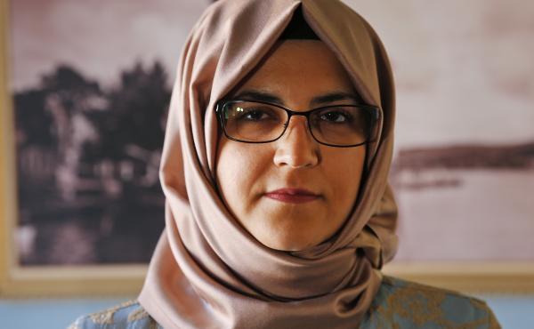 Hatice Cengiz, the fiancée of slain Saudi journalist Jamal Khashoggi, poses for The Associated Press following an interview in Istanbul on Tuesday.