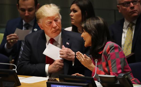 President Trump attends a meeting on the global drug problem at the United Nations with U.N. Ambassador Nikki Haley a day ahead of Tuesday's official opening of the United Nations General Assembly.