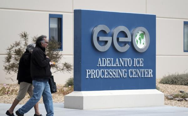 This U.S. immigration processing center in Adelanto, Calif., is operated by GEO Group Inc., a Florida-based company specializing in privatized corrections.