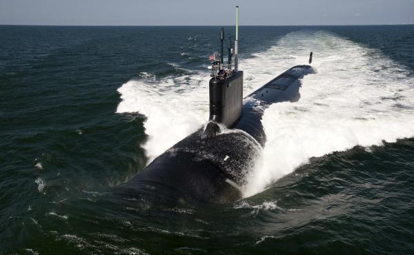 The Virginia-class attack submarine USS California (SSN 781) underway during sea trials in Atlantic Ocean on June 30, 2011.