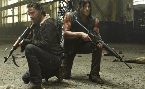 Andrew Lincoln, left, and Norman Reedus star in AMC's The Walking Dead.