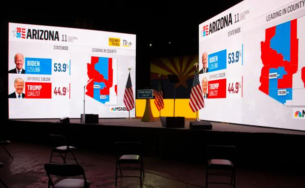 Arizona presidential election results from MSNBC are displayed during Democratic Senate candidate Mark Kelly's Nov. 3 election-night event in Tucson, Ariz. Like many other news organizations, NBC held off on calling Arizona for Joe Biden, while The Associ