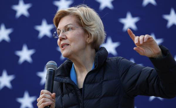 Presidential candidate Sen. Elizabeth Warren, D-Mass., at an organizing event in February. Warren says she wants to get rid of the Electoral College, and vote for president using a national popular vote.