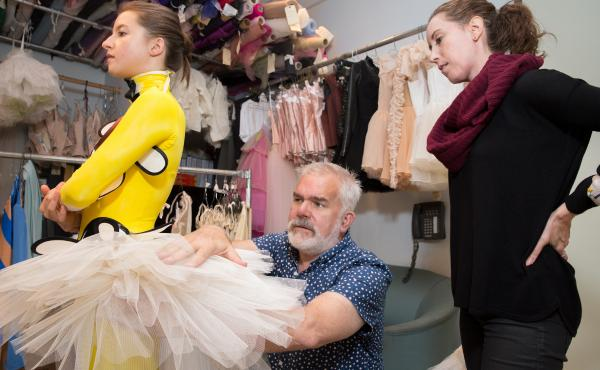 New York City Ballet Director of Costumes Marc Happel and Draper Kellie Sheehan conduct a costume fitting with soloist Indiana Woodward for Justin Peck's Pulcinella Variations, with costumes designed by Tsumori Chisato.