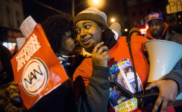 Erica Garner, daughter of Eric Garner, leads a 2014 protest against the grand jury's decision not to indict a police officer involved in the chokehold death of Eric Garner. Erica Garner, now 27, has been hospitalized after a heart attack, her mother tells