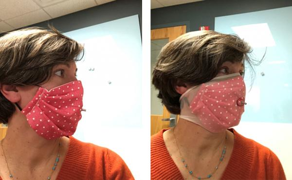 Researcher Loretta Fernandez of Northeastern University wears a homemade face mask without and with an extra outer layer made from nylon stockings (right). The added nylon outer layer significantly boosted masks' ability to filter out small particles, her