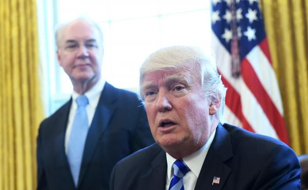 The Washington Post reports that President Trump, shown here with former Health and Human Services Secretary Tom Price, personally intervened to delay approval of Iowa's waiver application.
