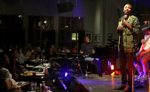 South African comedian Loyiso Gola performed at The Orbit, a club in Johannesburg, in February.