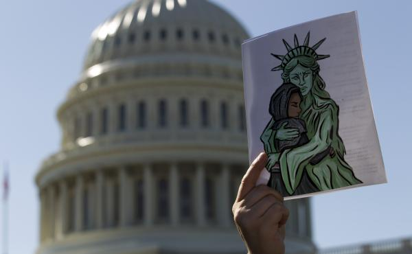 Faith leaders and members of human rights groups protest outside of the U.S. Capitol during a demonstration calling on Congress not to end refugee resettlement programs on Oct. 15, 2019, in Washington. Trump officials announced in September that it would