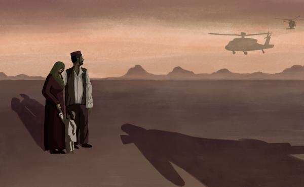 An Afghan family watches helicopters fly off as a looming shadow appears in the foreground.