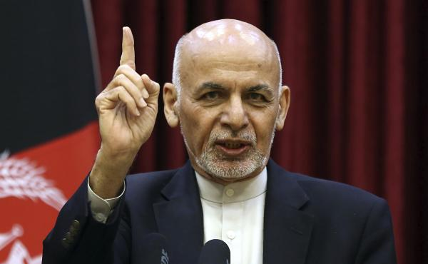 Afghan President Ashraf Ghani speaks during a news conference at the presidential palace in Kabul, Afghanistan, on Sunday, March, 1.