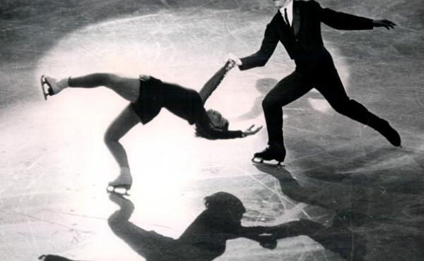 """American sibling skaters Ronald and Vivian Joseph perform the """"death spiral"""" on Oct. 26, 1963, at the World Championships. The International Olympic Committee announced this week that the Josephs, who originally placed fourth in the 1964 Winter Games in I"""