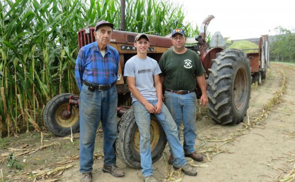 The Walizer Farm in Howard, Pa., is home to three generations of Trump supporters: Jim Walizer (from left), Jason Walizer and Dennis Walizer.