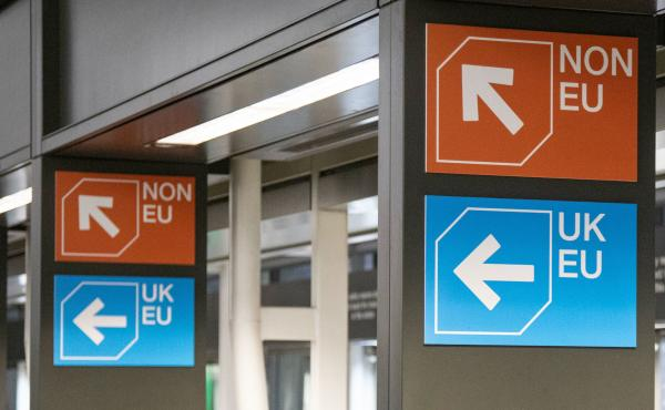 The EU will offer visa exemptions to U.K. travelers, even if Brexit takes place without a deal. But the law would require the U.K. to offer reciprocal visa-free travel to all EU nations. Here, customs signs are seen in London's Stansted airport.