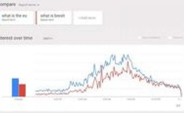 """Searches for """"what is the eu"""" and """"what is brexit"""" spiked in the U.K. after polls closed."""