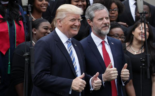 Jerry Falwell Jr. with President Trump during Liberty University's commencement in May 2017 in Lynchburg, Va.